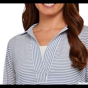 C. Wonder LS Split Neck Sheer Striped Top A275106